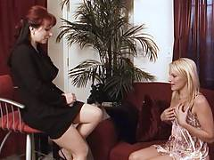Kylie Ireland seduces Samantha Ryan before leading her in to the bedroom