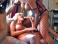 Hot lesbian matures enjoy a group sex drilling pussies with dildos and finger fucking