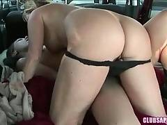 Bitch in black panty wants to kiss her babes nipples
