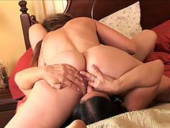 Randi James and Melissa Monet have slippery lesbian fun