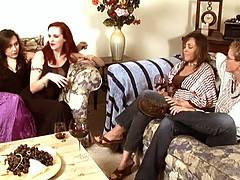 Lesbian babes have dinner party before two go home and two are left alone for some interesting action