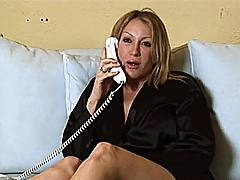 Randi James talks on phone while Nica Noelle fucks her redhead daughter Trinity Post