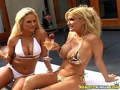 The girls were hanging out poolside discussing all sorts of grown woman issues as they sipped on some champagne and fed each other strawberries. Brookie and Rhyse are two gorgeous older blondes with sets of huge tits and round bubble butts. Amazing. After