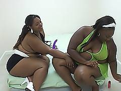 These two ebony BBW blacklesbiansians get naked and dive between each other's legs to get them off